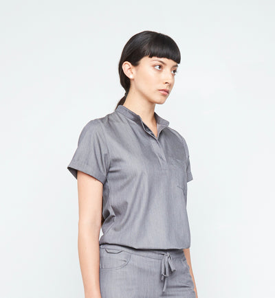 Maverick Top (Granite Smoothie) XS | Fabled makes designer scrub fashions, cute dental scrubs, and cute vet scrubs. All Fabled's cute scrubs made in USA.