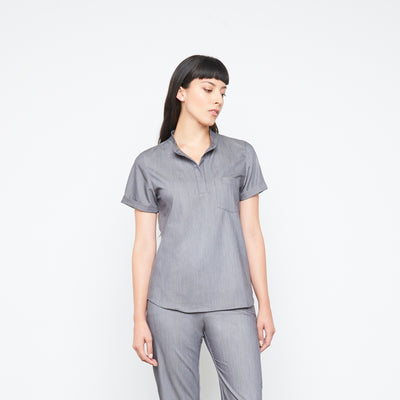 Maverick Top (Granite Smoothie) | Fabled is the best of all the cute scrub brands online. Our cute fitted scrubs and fashionable scrubs uniforms are all made in America.