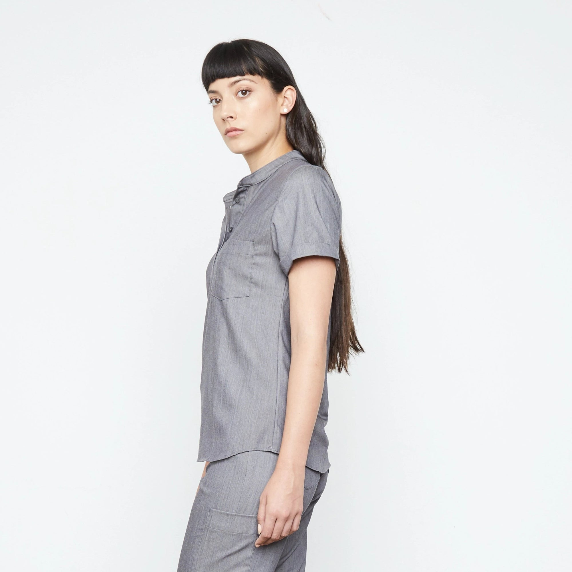 Maverick Top (Granite Smoothie) | Fabled is your shop for cute scrub tops, cute womens scrubs, and fashion medical scrubs female doctor