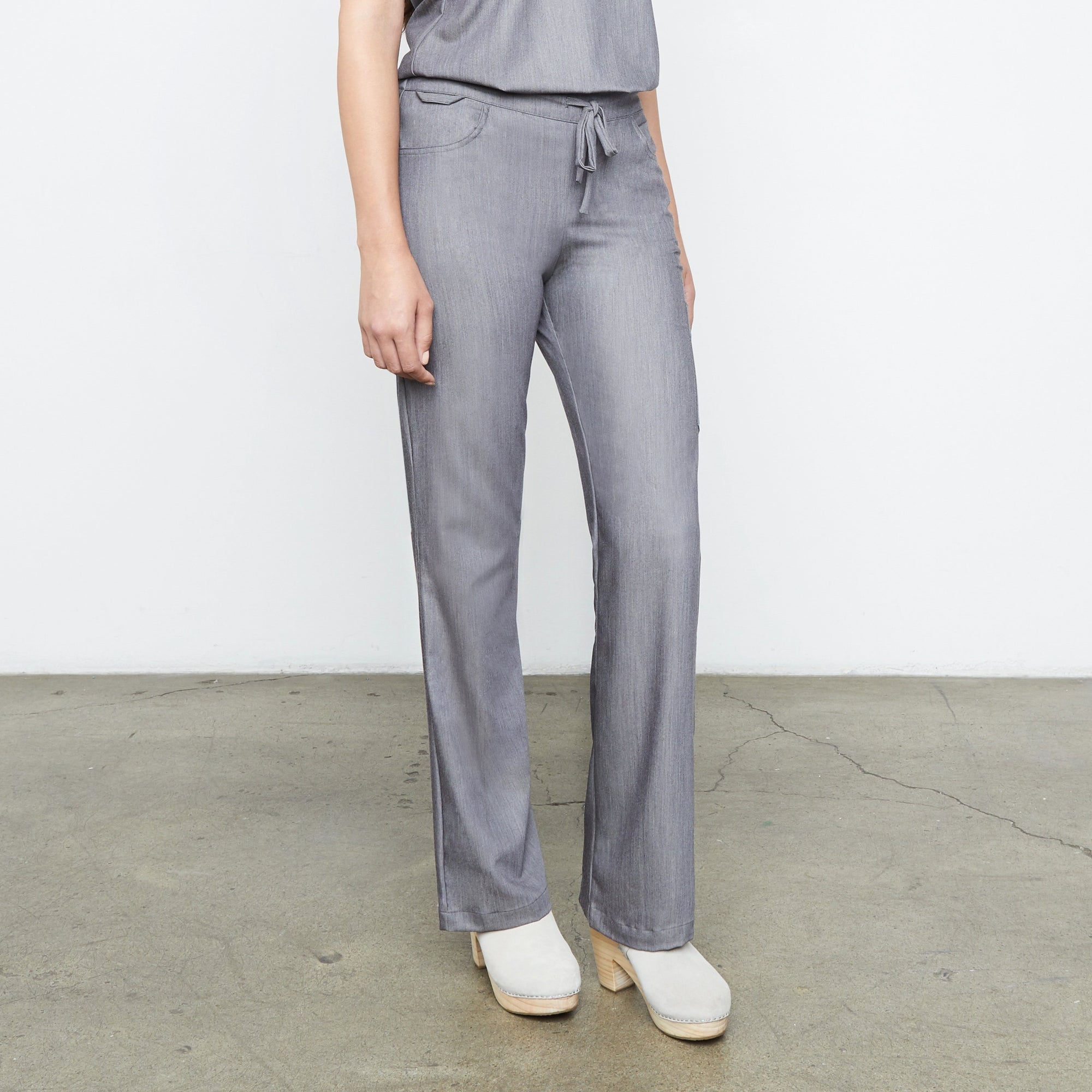 Maverick Pant (Granite Smoothie) | Fabled fashion scrub store has cute scrubs for sale, including dressy scrub pants and chic scrub pants. Now in gray, tall!