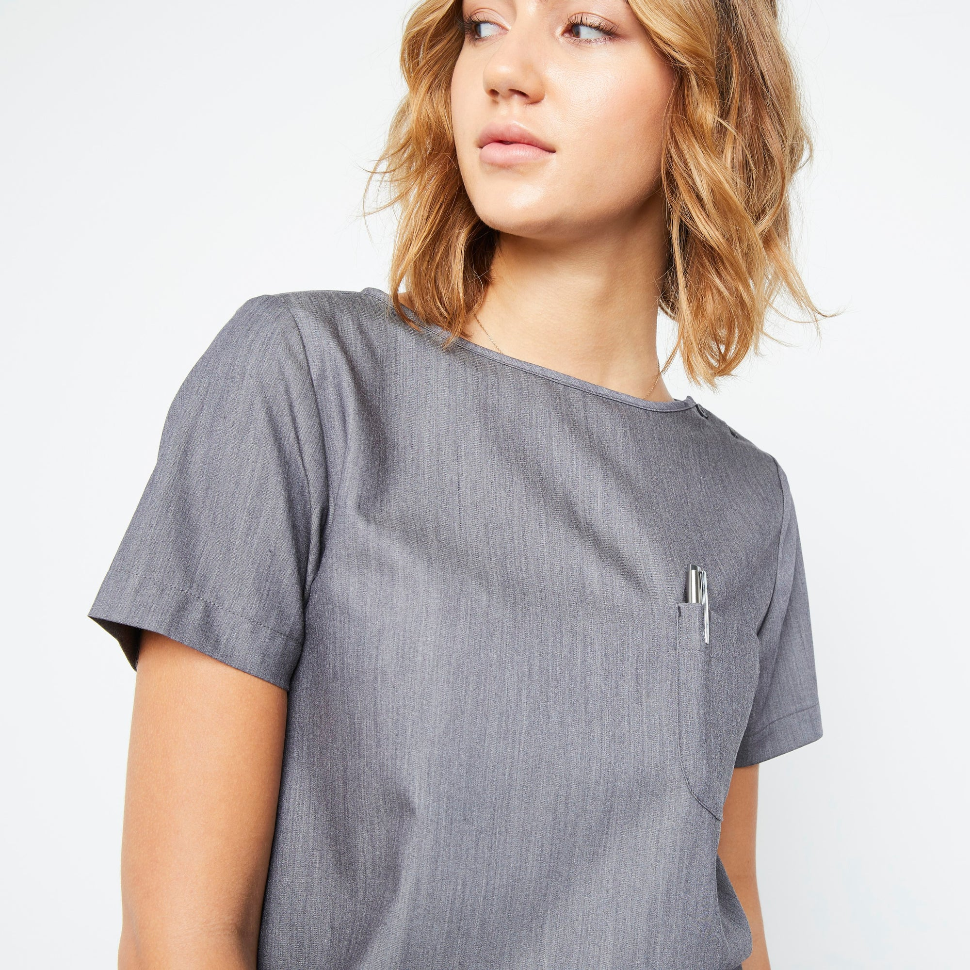 Harley Top (Granite Smoothie) XXS | Fabled makes designer scrub fashions, cute dental scrubs, and cute vet scrubs. All Fabled's cute scrubs made in USA.