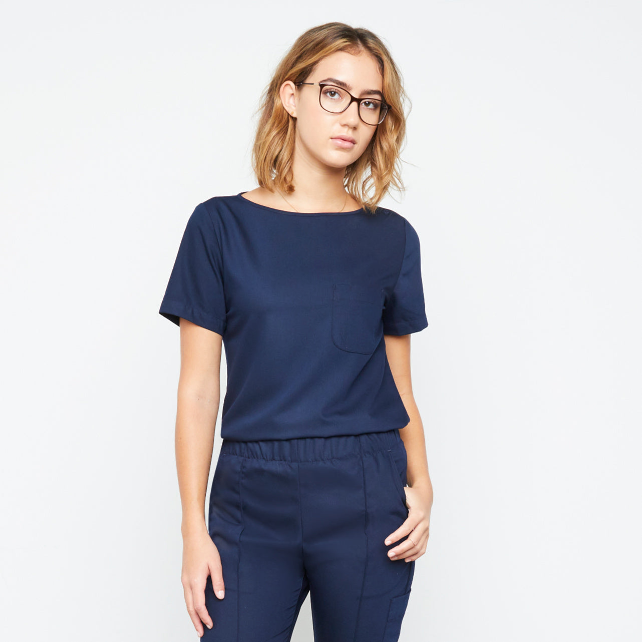 Harley Top (Really Dark Navy) XXS | Fabled makes designer scrub fashions, cute dental scrubs, and cute vet scrubs. All Fabled's cute scrubs made in USA.