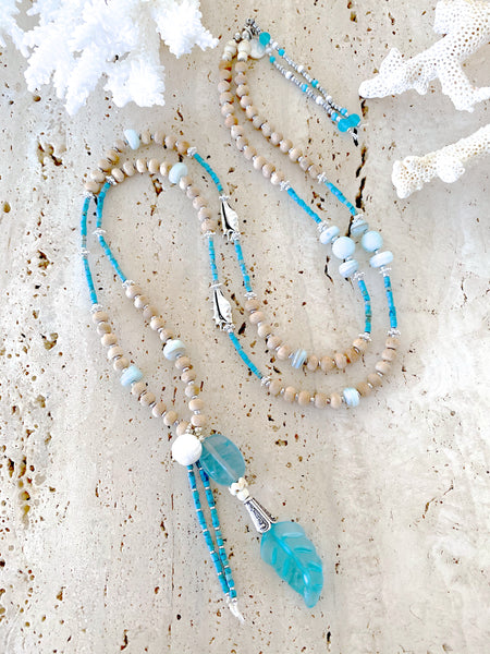 Aqua Glass Feather Beaded Shell Necklace
