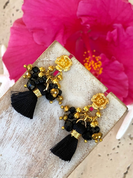 Black Tassel Crystal Fashion Gold Crystal Earrings