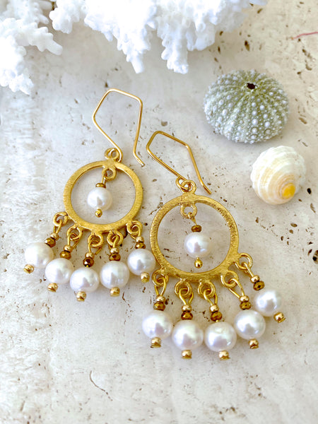 Rich Gold Pearl Crystal Wedding Bohemian Earrings