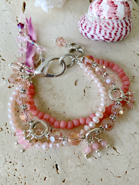 Pink Crystal Coral Pearl Wedding Beach Costume Pretty Bracelet