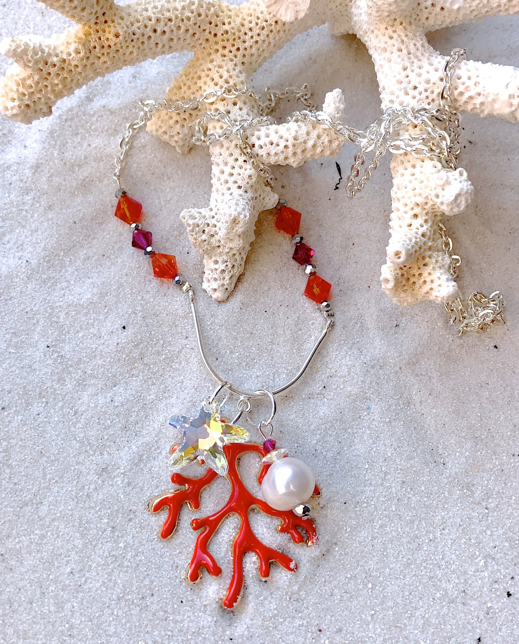 Red Coral Swarovski Crystal Sterling Silver Long Necklace