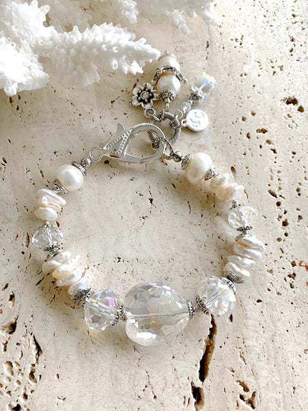 White Baroque Freshwater Pearl Crystal Silver Wedding Bracelet