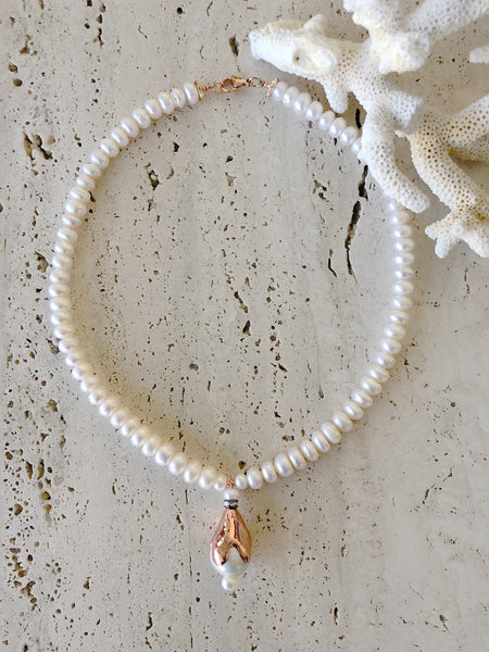 Rose Gold Baroque Pearl Necklace