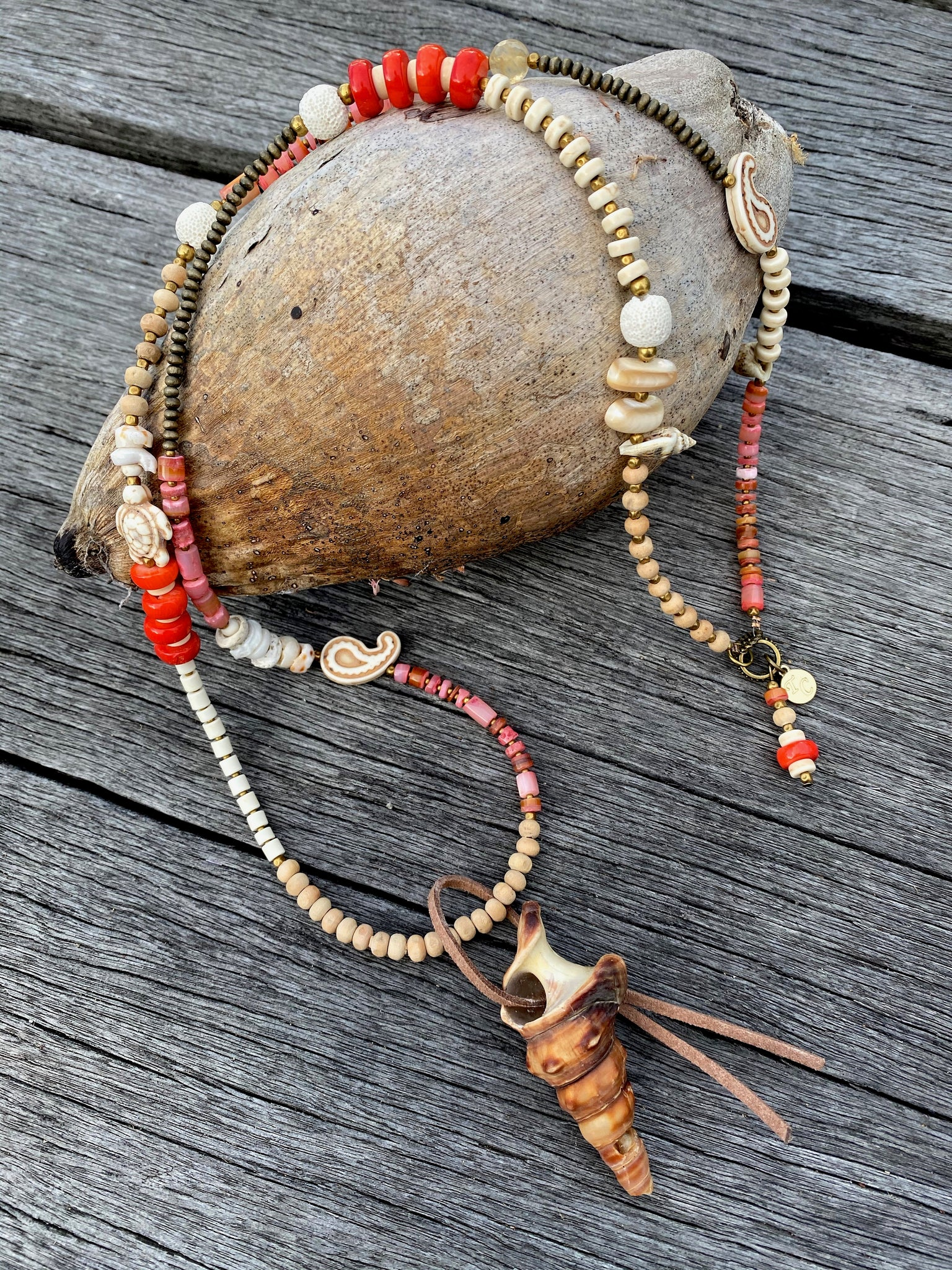 Coral Shell Beach Necklace