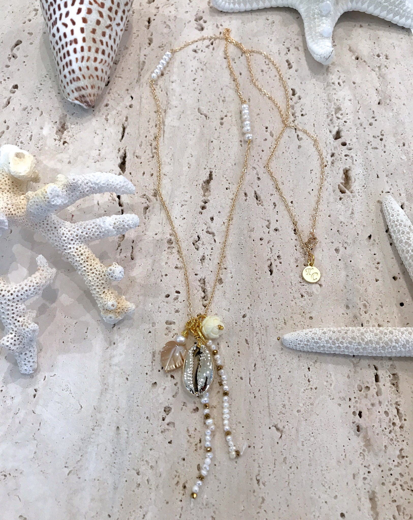 Gold Cowrie Shell Beach Gold Chain Necklace