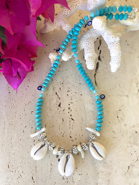 Cowrie Shell Turquoise Gemstone Evil Eye Necklace