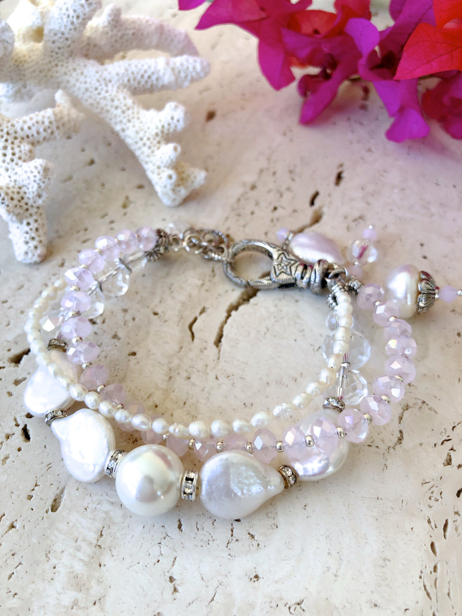 Baroque Pearl Crystal White Pink Layered Wedding Bracelet