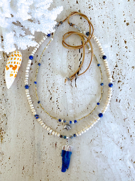 Blue Bohemian Gemstone Spear Necklace