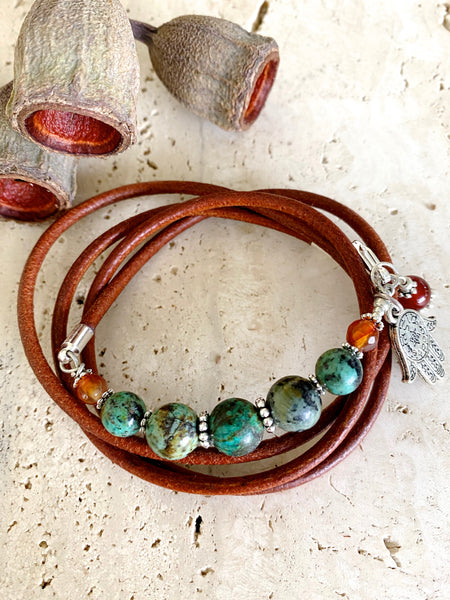 African Turquoise Stone Leather Wrap Bracelet