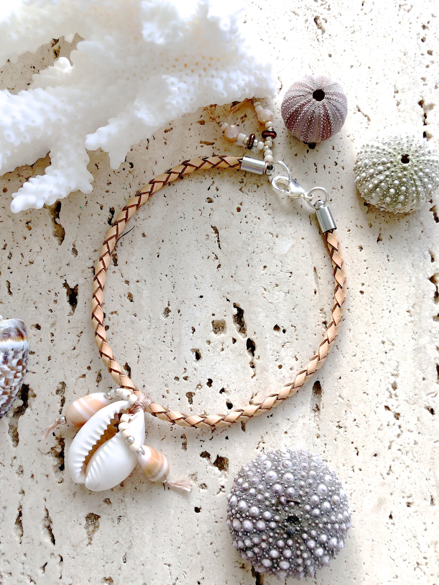 Bohemian Leather Cowrie Shell Beach Jewellery Bracelet