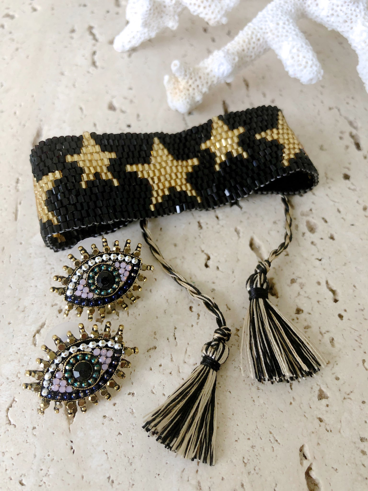 Black Gold Star Seed Bead Beaded Bohemian Bracelet