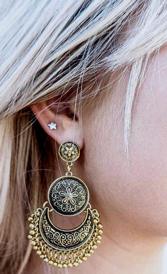 Gold Bohemian Antique Earrings