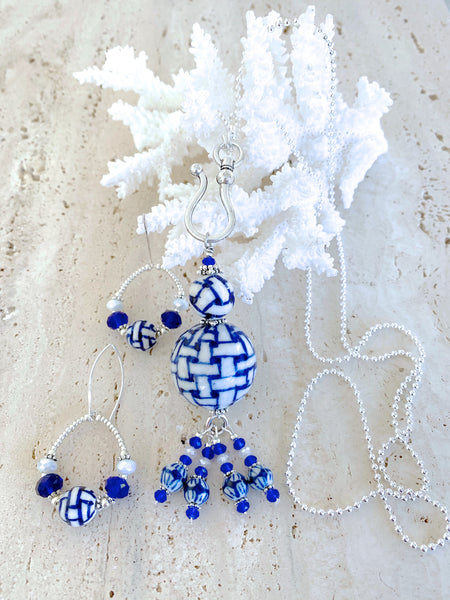 Blue & White Beaded Necklace
