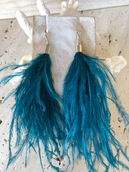 Ostrich Feather Aqua Sterling Silver Earrings