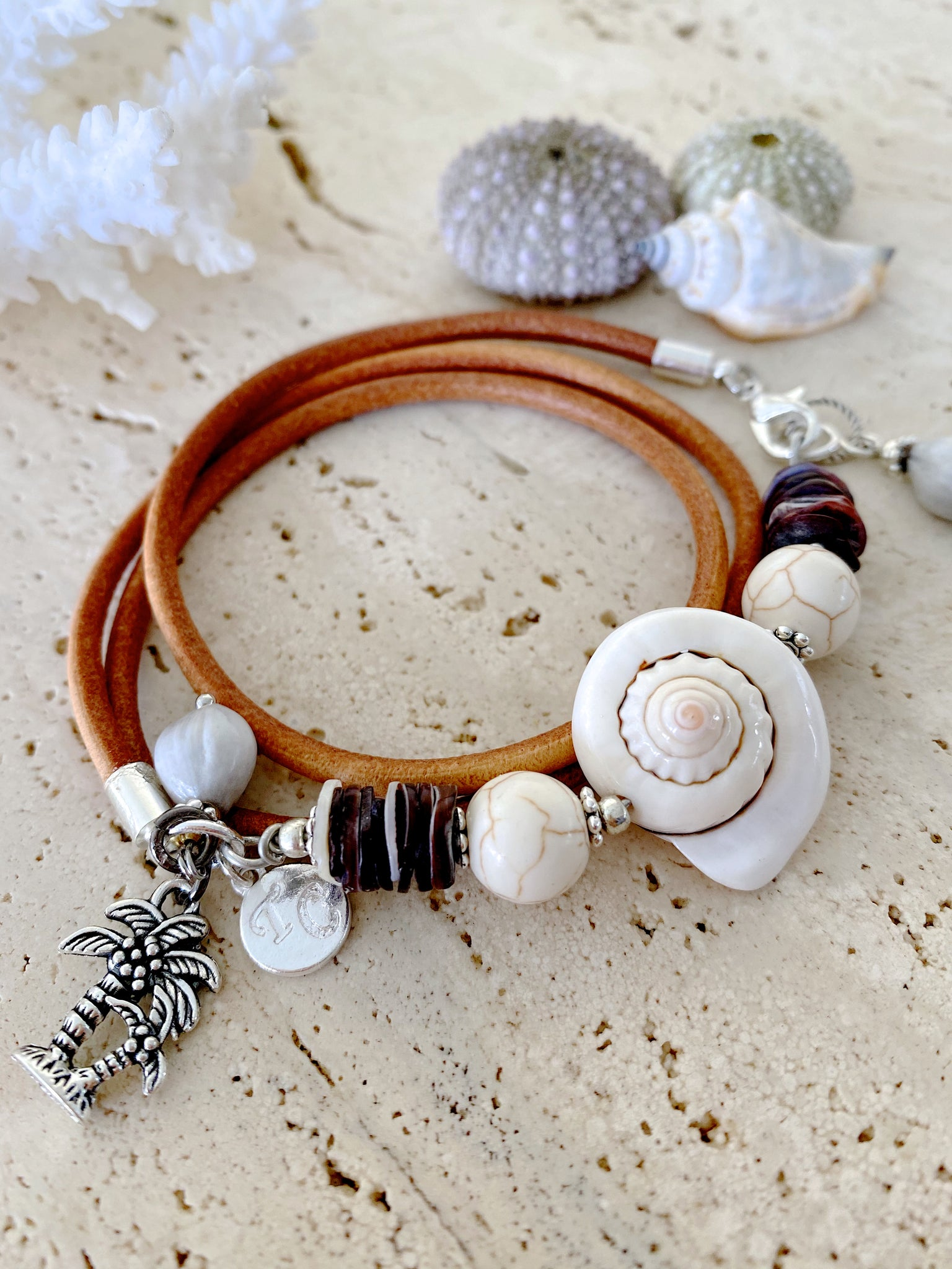 Shell Leather Beach Wrap Bracelet