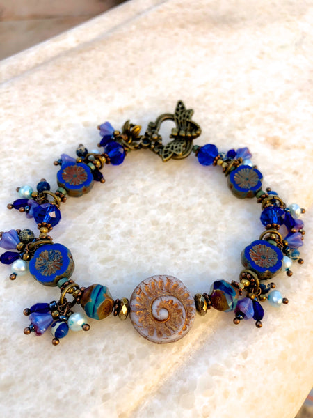 Vintage Glass Flower Beads Rich Blue Bracelet