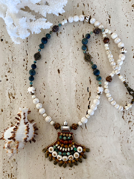 Rustic Tribal Beaded Gemstone Necklace