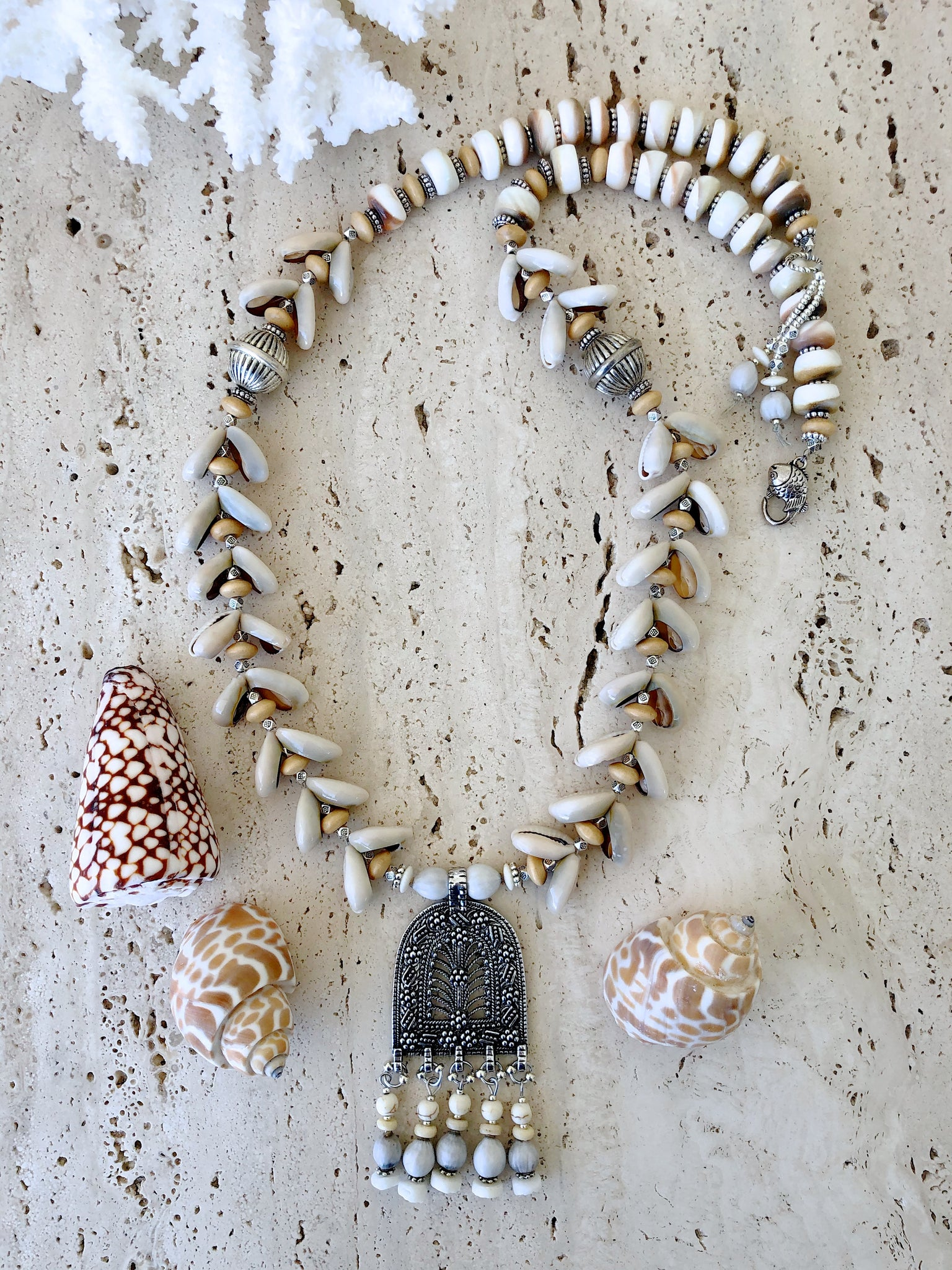 Cowrie Shell Bohemian Silver Necklace
