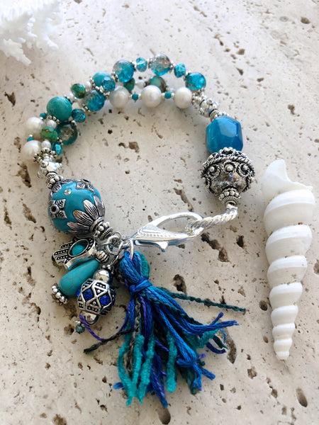 Turquoise Agate Pearls Silver Gemstone Indian Costume Bracelet