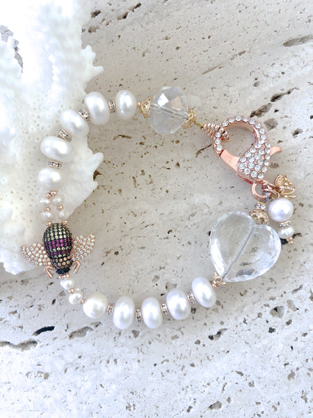 Bee Cubic Zirconia Rose Gold Freshwater Pearl Wedding Cocktail Bracelet
