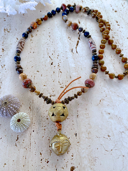 African Indian Tribal Mask Gemstone Necklace