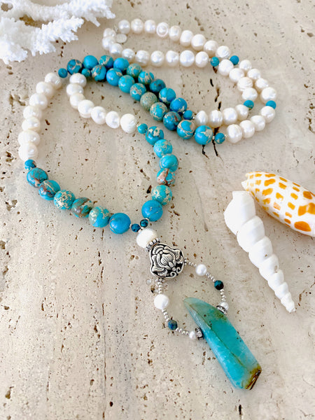 Pearls And Blue Stone Mala Necklace