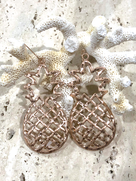 Bohemian Rose Gold Large Pineapple Earrings