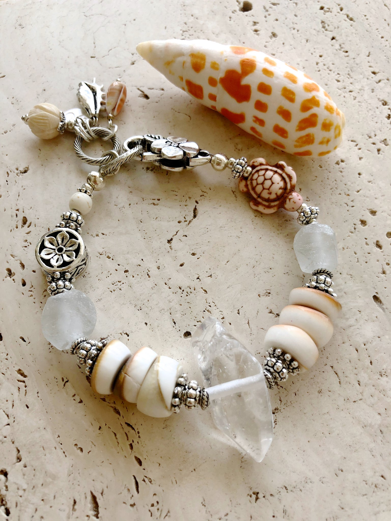 Quartz Clear Gemstone Shell Indian Silver Bracelet