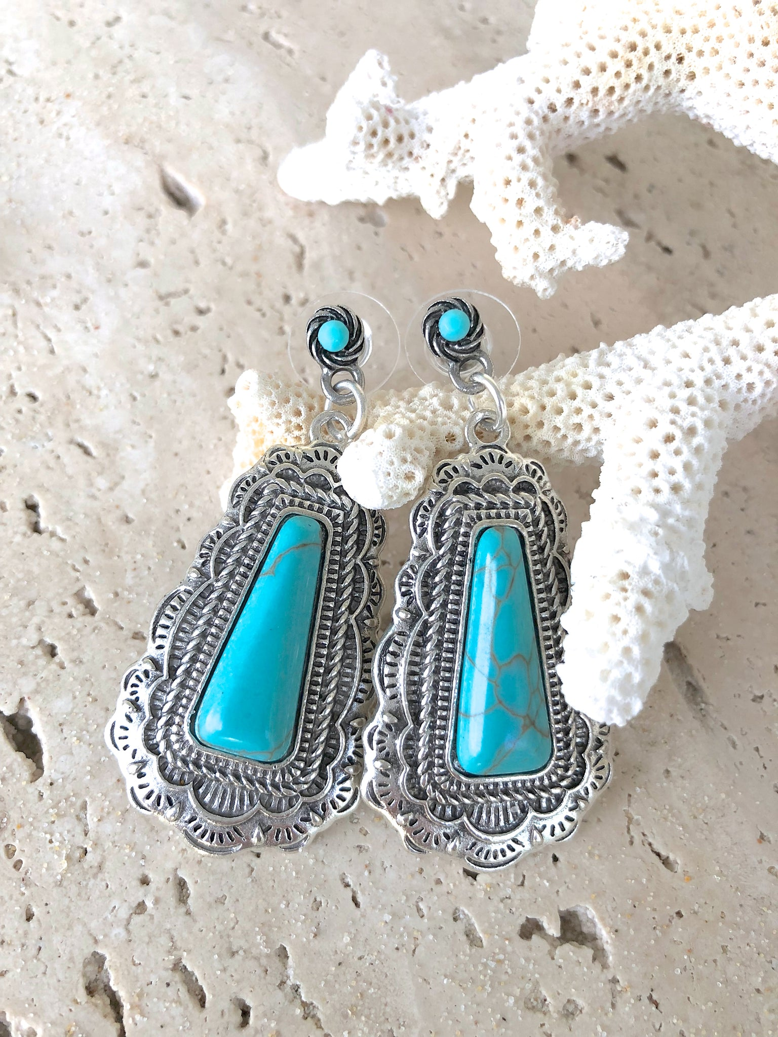 Bohemian Vintage Silver Turquoise Gemstone Earrings