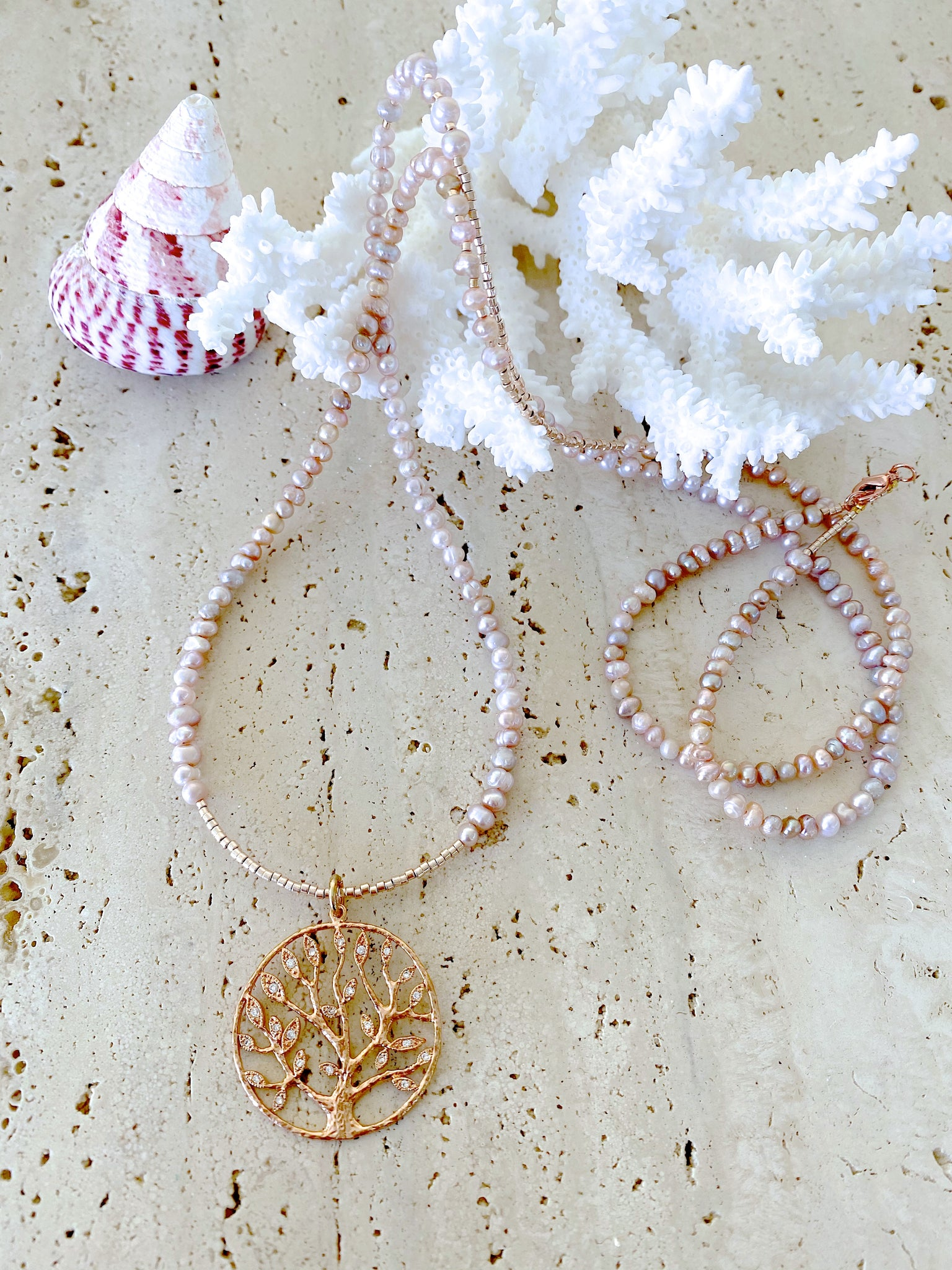 Soft Pink Pearl Rose Gold Tree Of Life Necklace