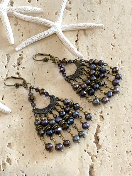 Black pearl vintage chandelier earrings