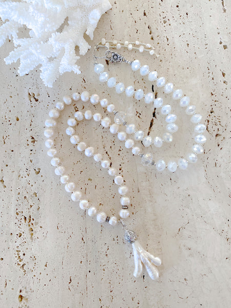 Long White Pearl & Crystal Necklace