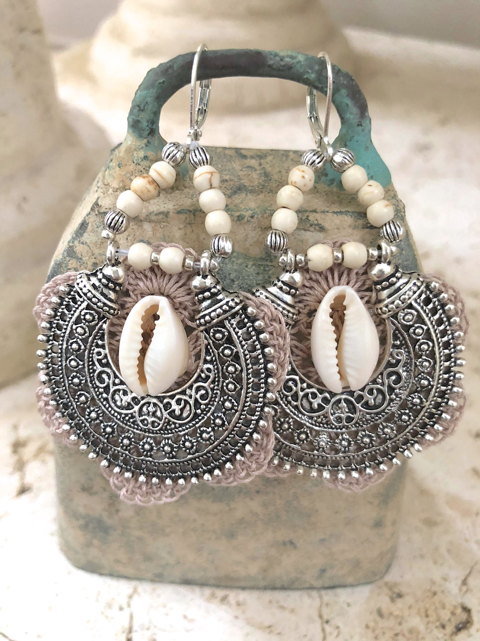 Cowrie Shell Crochet Indian Silver Earrings