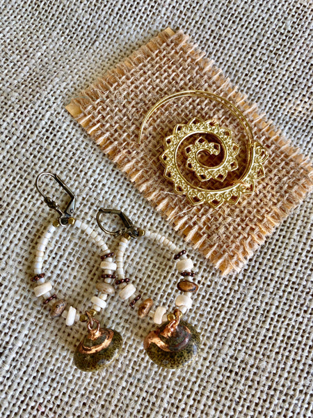 Gold Cream Seed Bead Gold Shell Earrings