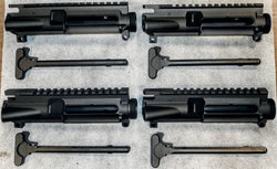 4 PACK W/BILLET MIL-SPEC CHARGING HANDLES AR-15 STRIPPED A3 UPPER RECEIVERS W/M4 FEED RAMPS