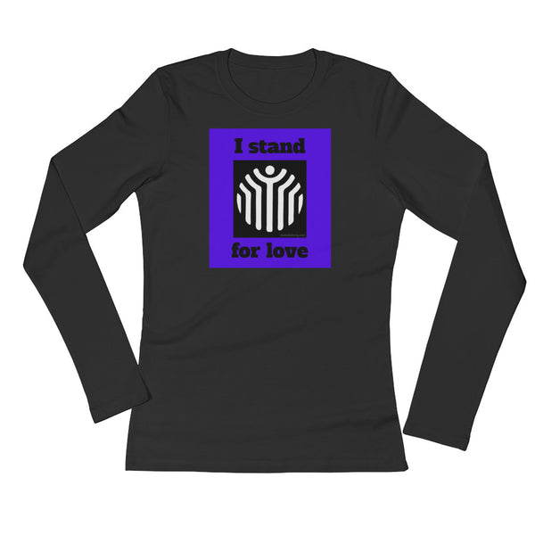 women's re-mind*ful living 'I stand for love' long sleeve jersey t-shirt