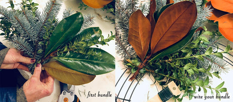 Fresh Wreath, Fresh Holiday Wreath, Fresh Holiday wreath making class, Step 2: Create your first bundle and wire it on.