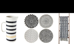 black and white decor, black and white plates, black and white pitcher, grey and white polka dot throw