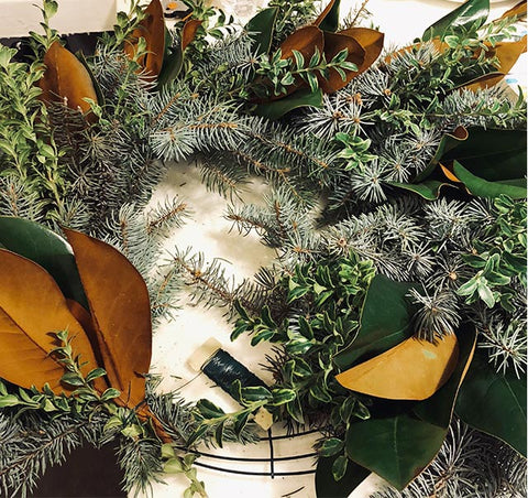 Fresh Holiday Wreath, emiejames wreath making tutorial, how to make a fresh holiday wreath, final step in making a fresh wreath.