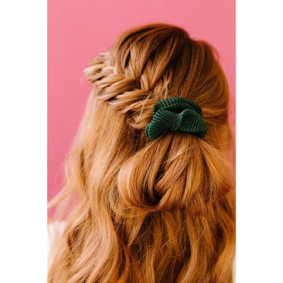 Accordian Pleated Scrunchie (Hunter Green)