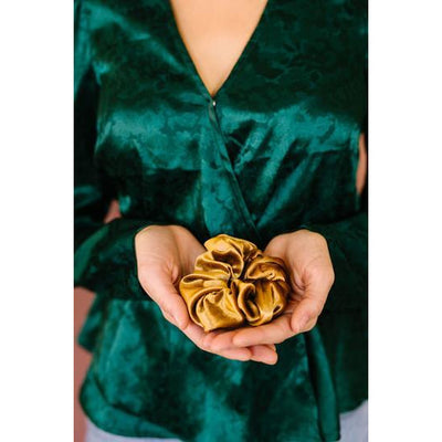 Oversized Gold Scrunchie