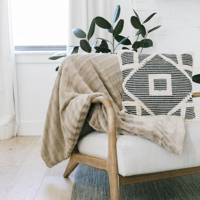 Buff Stripe Throw Blanket - Beige