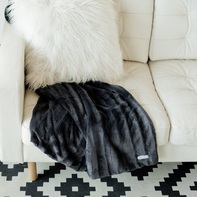Charcoal Stripe Throw Blanket