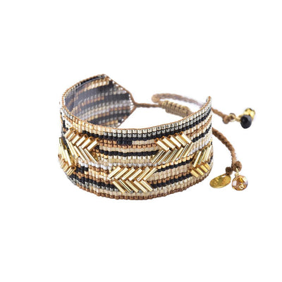 "Mishky Chevron Bracelet-Gold/Black/Copper  (1"" Wide)"